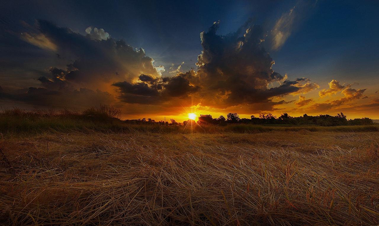Фотография Природа Небо Поля Рассветы и закаты Облака рассвет и закат облако облачно