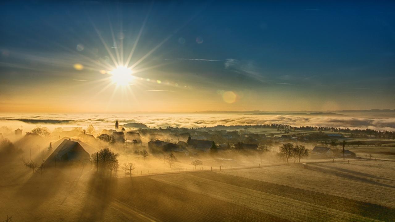 Фото поселок Туман Солнце Природа Небо Пейзаж Рассветы и закаты село Деревня тумана тумане солнца рассвет и закат