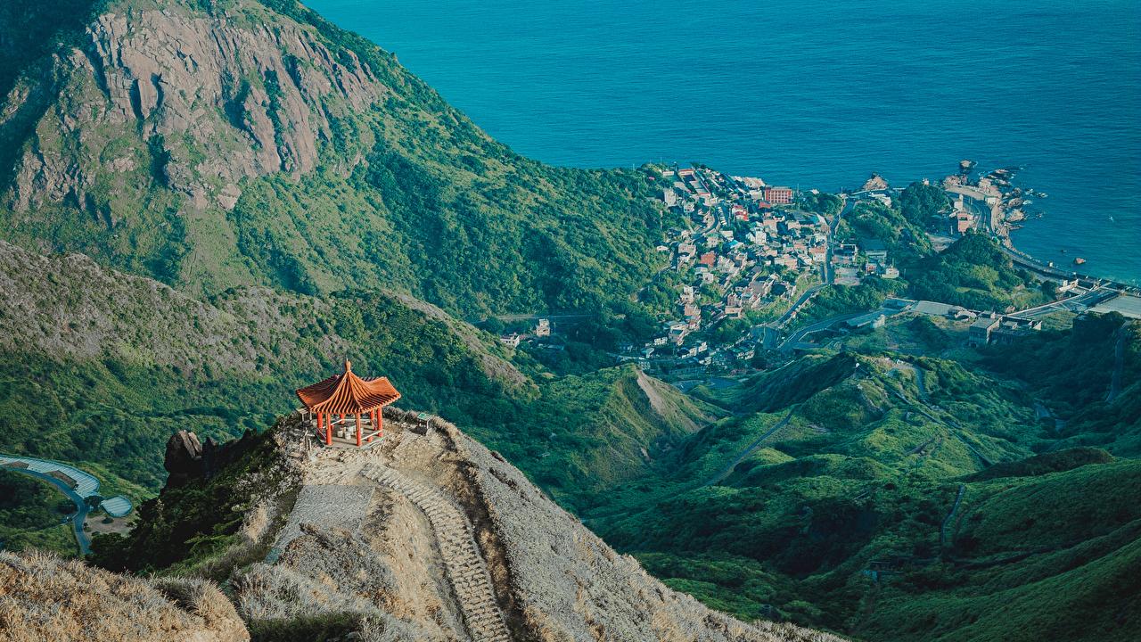 Фотография Тайвань Taipei Горы Природа Пагоды Побережье Здания гора берег Дома