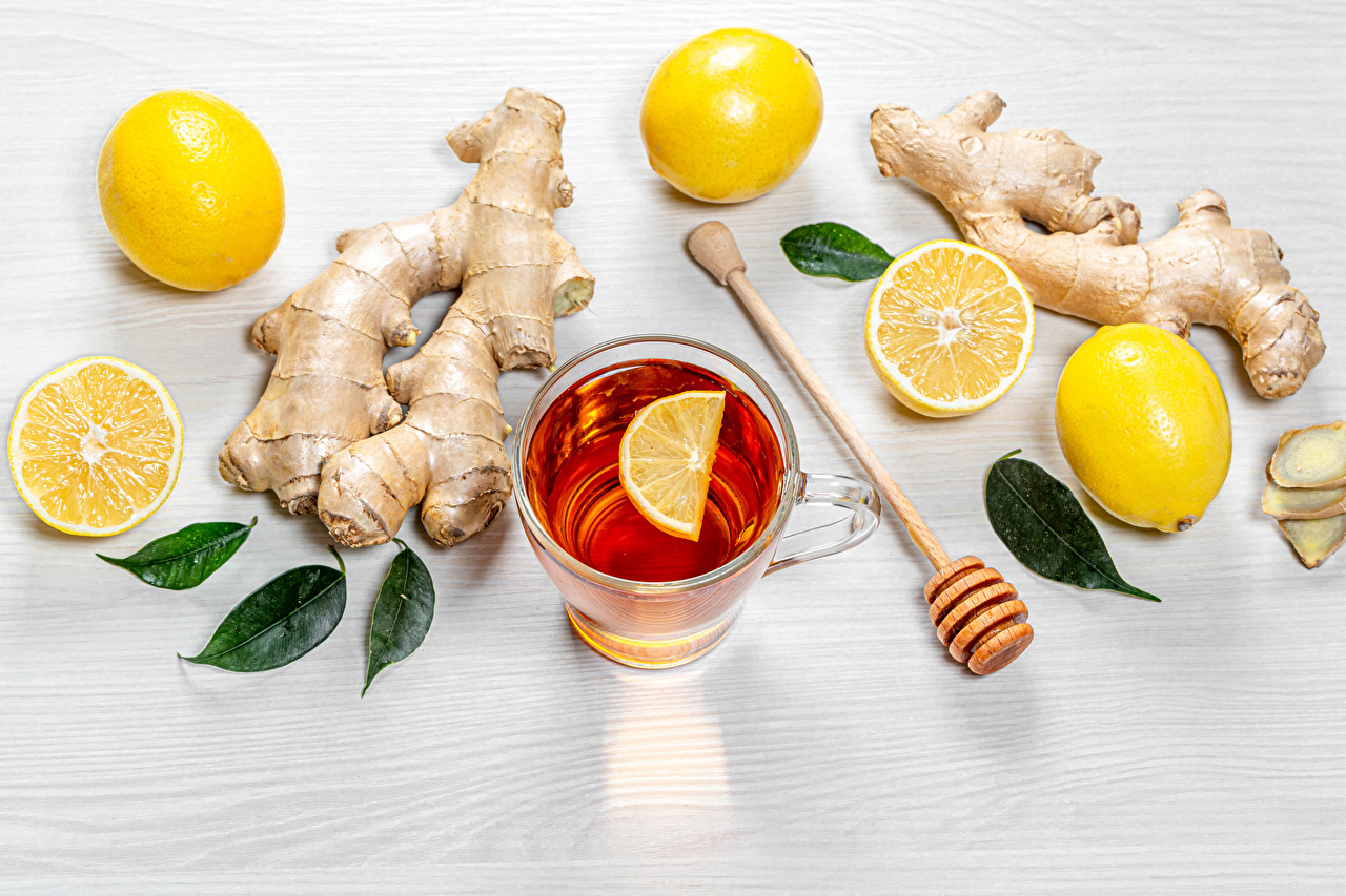 Картинка Еда Кружка Чай Лимоны Листья Имбирь Пища Продукты питания кружке кружки лист Листва