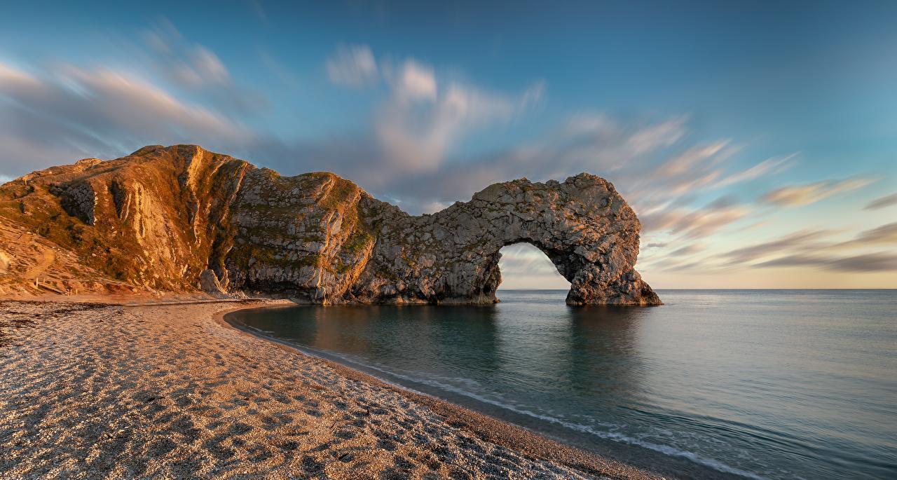 Фотография Англия арки Dorset Пляж Утес Природа берег Арка пляжа пляже пляжи Скала скале скалы Побережье