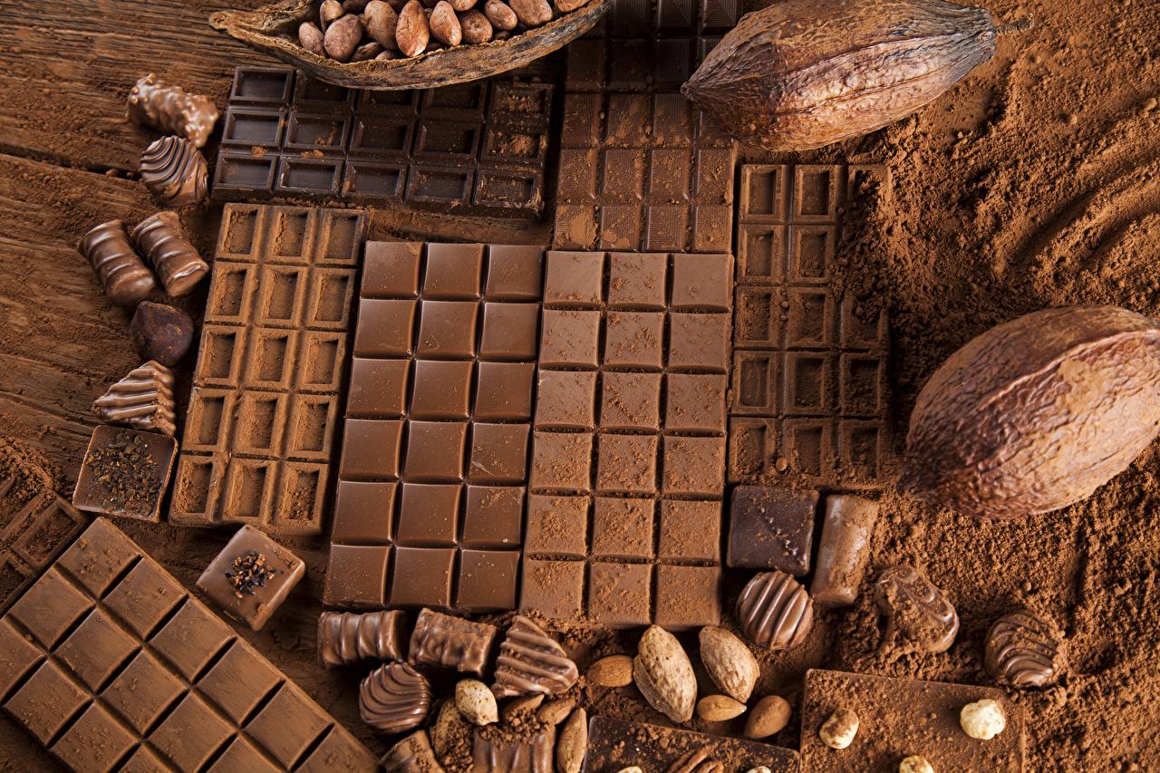Картинка Какао порошок Шоколад Шоколадная плитка Орехи Сладости шоколадка