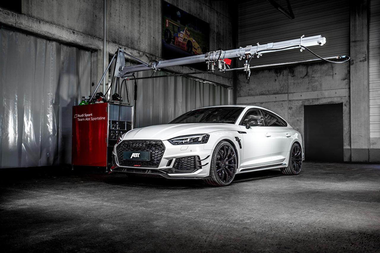 Картинки Ауди 2019 ABT RS 5-R Sportback белые машины Audi белых Белый белая авто машина автомобиль Автомобили