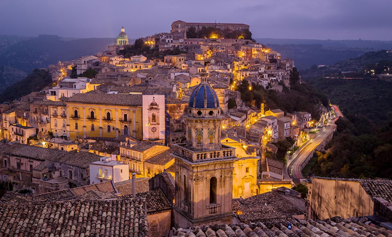 Италия Дома Сицилия Вечер Ragusa Ночь Здания, Ночные Города