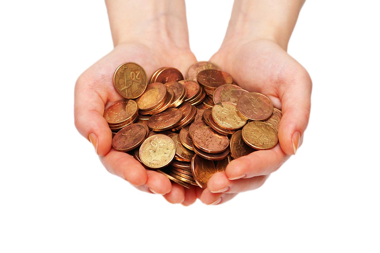 Картинка Монеты Руки Деньги Белый фон рука белом фоне белым фоном