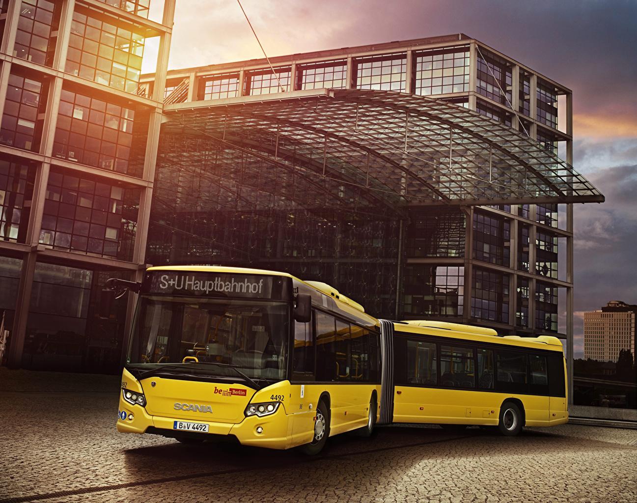 Фотография Сканиа Автобус 2012-18 Citywide LFA Желтый Авто Scania Машины Автомобили