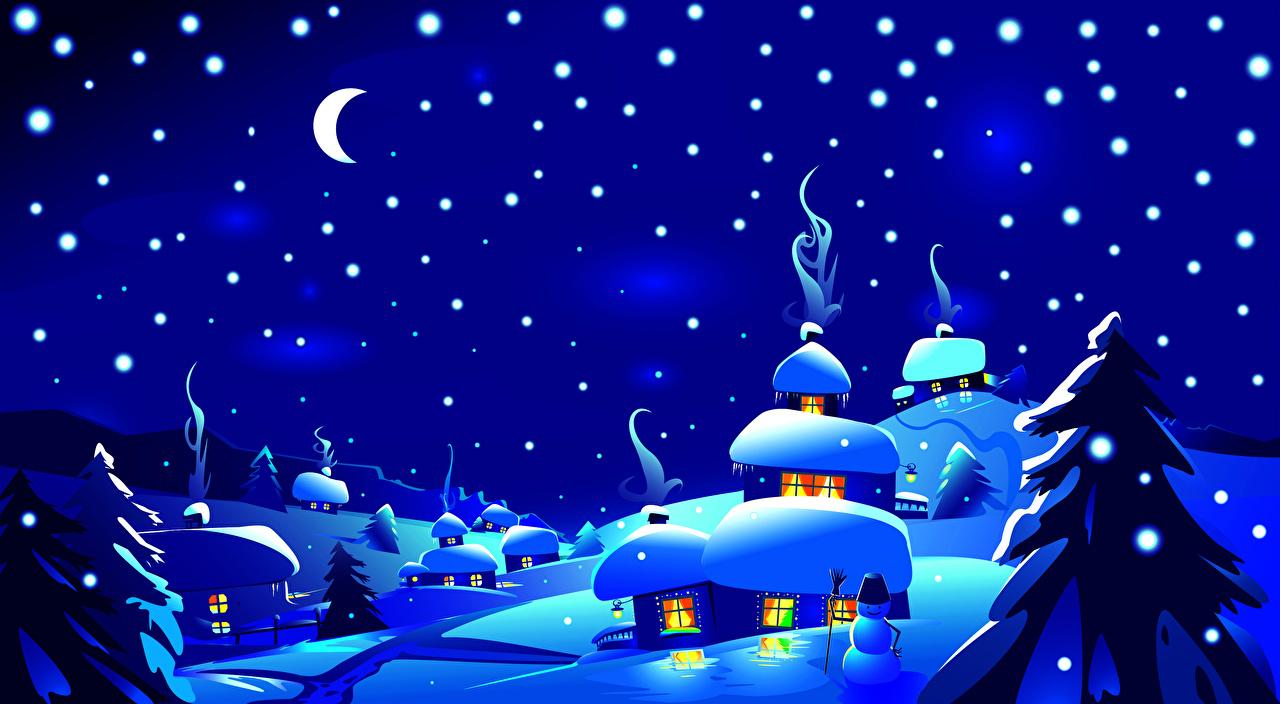 Картинки Ель зимние Природа Луна Снег Небо Ночь Векторная графика Зима Ночные