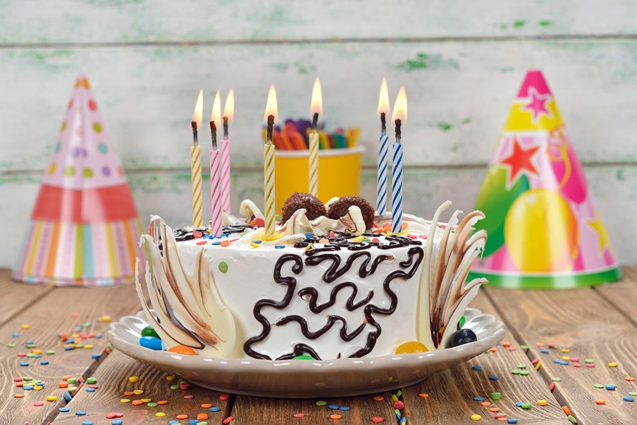 Обои для рабочего стола День рождения Торты Пища Свечи Еда Продукты питания