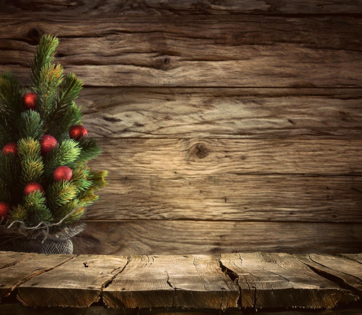 Фотографии Новый год Елка Шар Стена Доски Рождество Новогодняя ёлка Шарики стенка