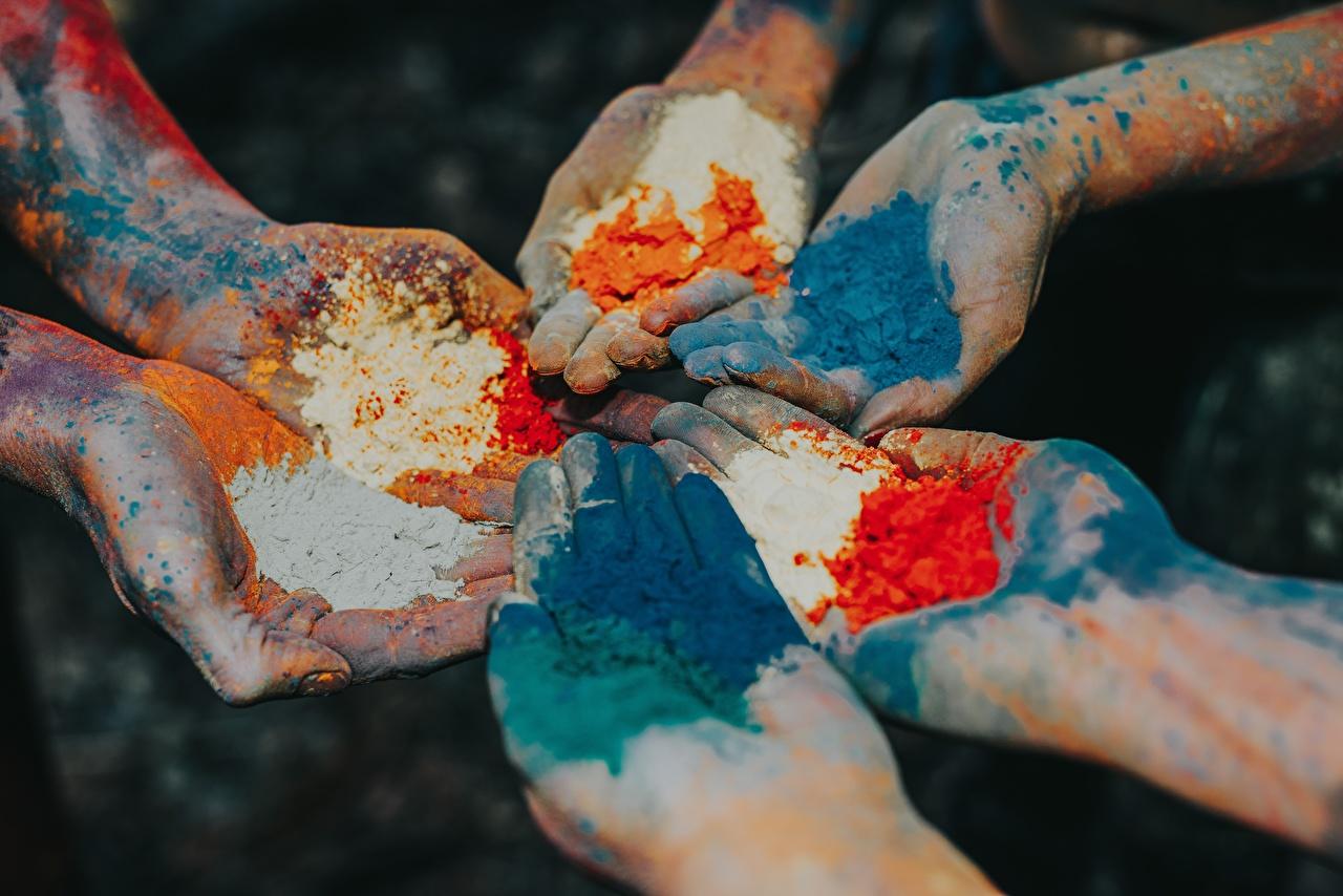 Фотография порошке Краски Руки вблизи Порошок рука Крупным планом