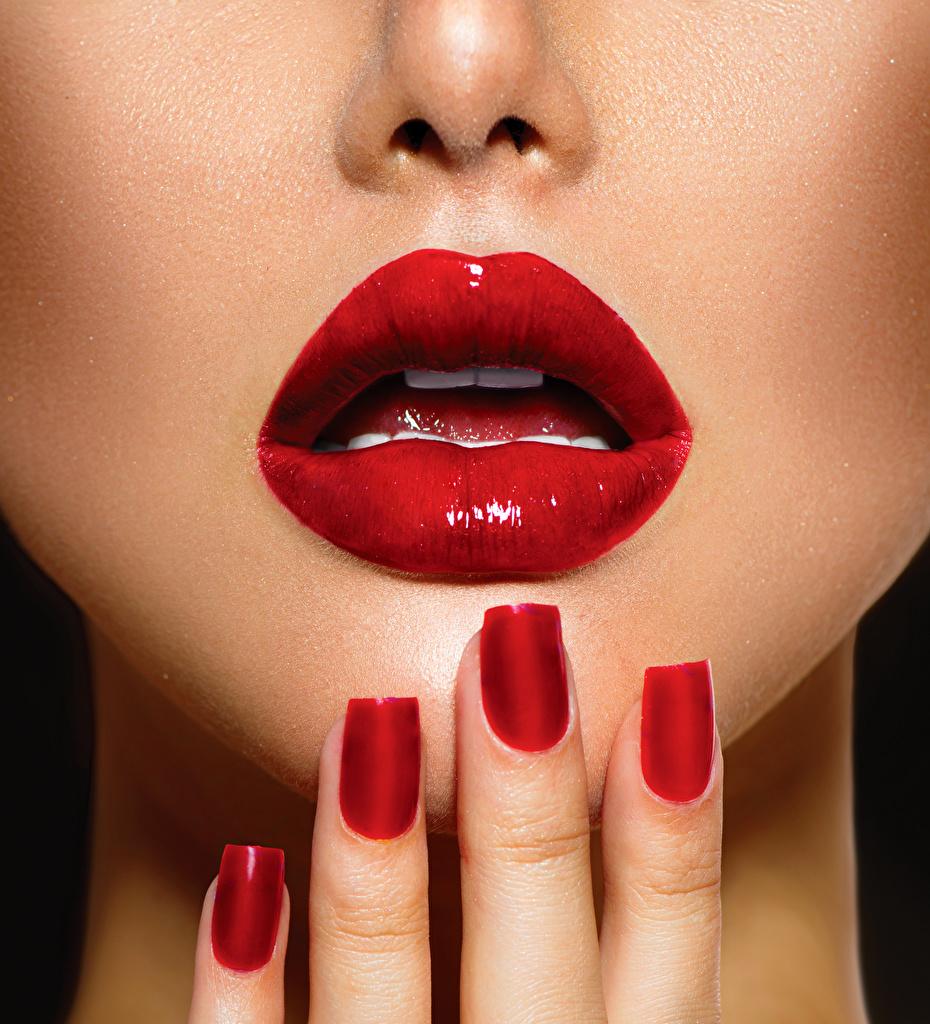 Картинка Маникюр Пальцы Красные губы