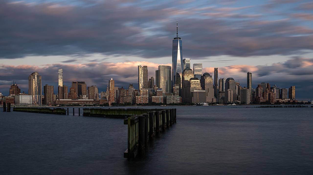 Обои для рабочего стола Нью-Йорк Манхэттен америка Небоскребы Дома Города США штаты город Здания
