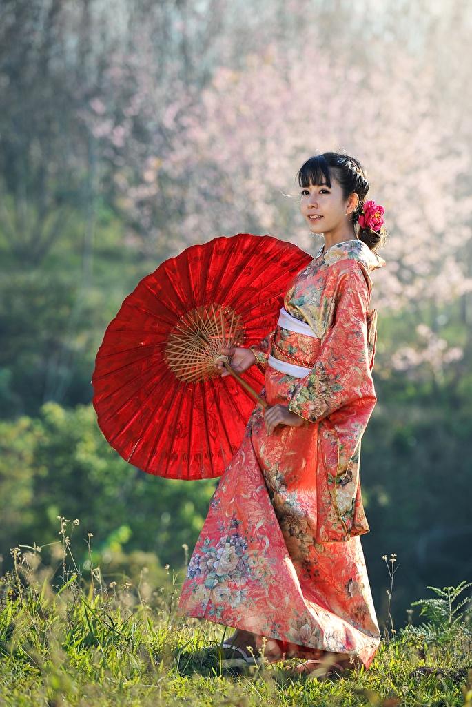 Фото Брюнетка Кимоно девушка азиатки траве зонтом  для мобильного телефона брюнеток брюнетки Девушки молодые женщины молодая женщина Азиаты азиатка Зонт Трава зонтик