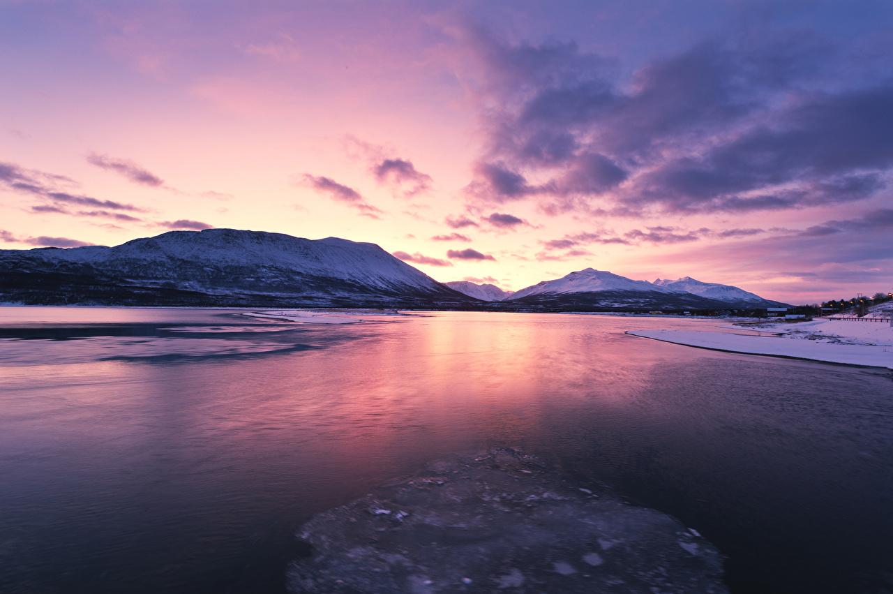 Фотография Лофотенские острова Норвегия Зима Горы Природа Рассветы и закаты Залив зимние