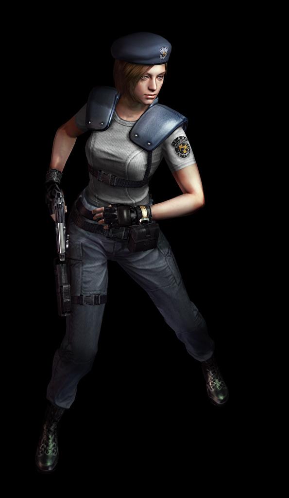 Картинка Resident Evil Полицейские Jill 3д Девушки Игры Черный фон  для мобильного телефона полицейский полицейская полицейский девушка 3D Графика молодая женщина молодые женщины компьютерная игра на черном фоне
