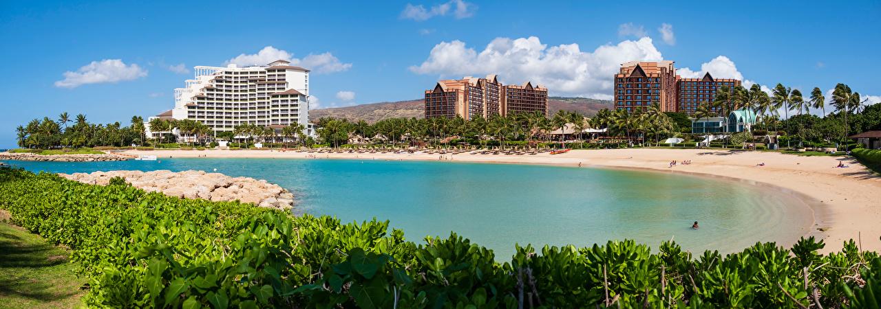 Фотография Гавайи штаты Панорама Ko Olina Lagoon, Oahu пляжа пальма город Здания гавайские острова США америка панорамная Пляж пляже пляжи пальм Пальмы Дома Города