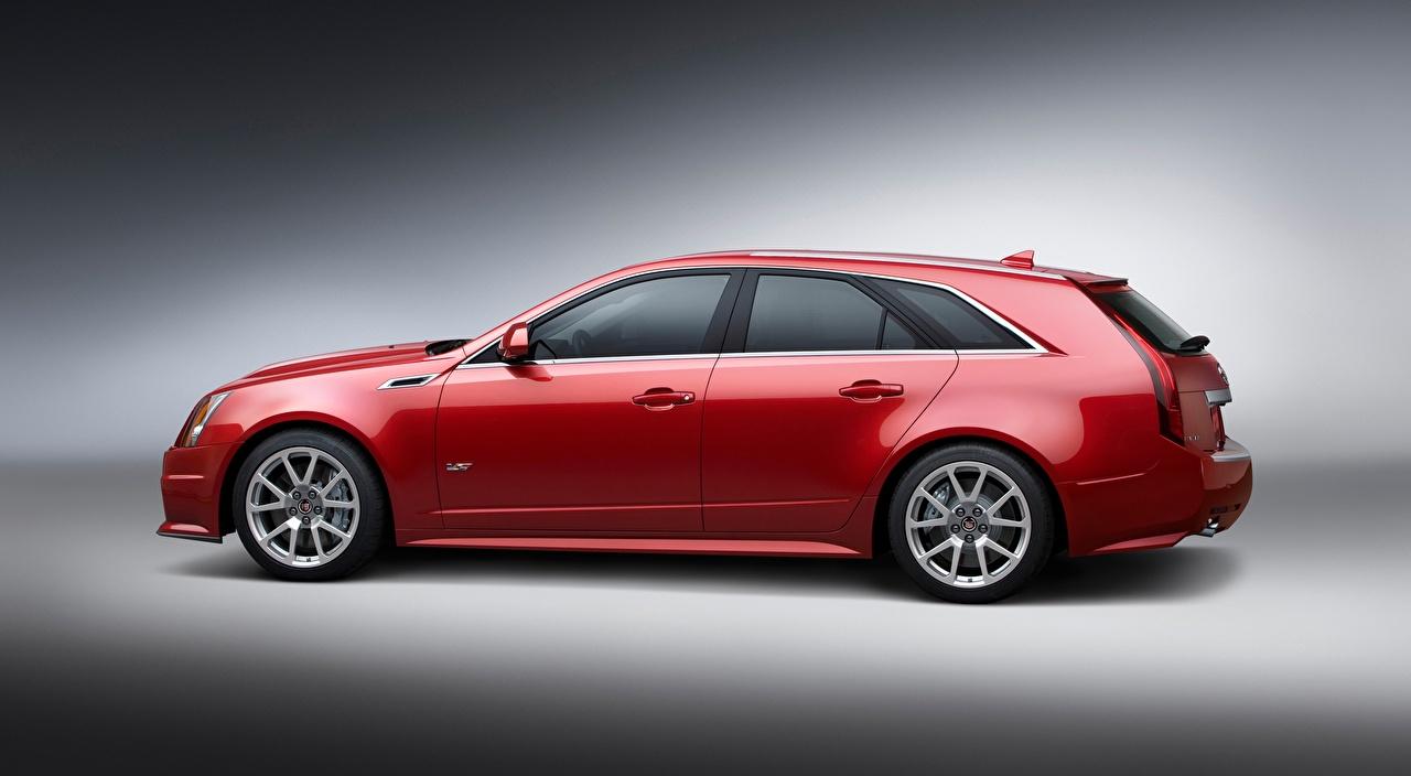 Фото Cadillac Универсал CTS-V, Sport Wagon Красный Сбоку Металлик Автомобили Серый фон Кадиллак красных красные красная авто машина машины автомобиль сером фоне