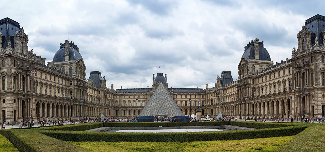 Картинка Париж Дворец Франция музеи Louvre Museum Города Ландшафтный дизайн париже дворца Музей город