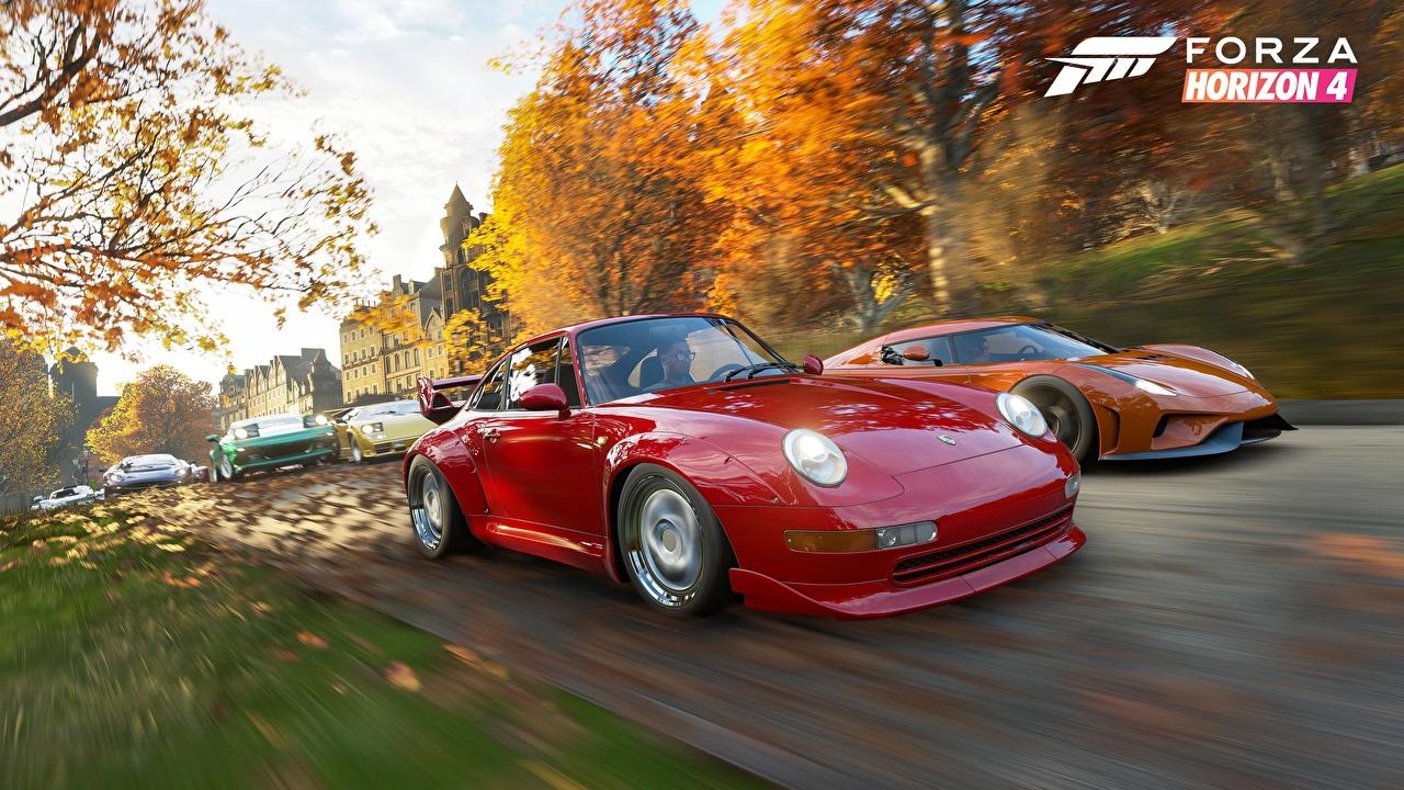 Картинка Forza Horizon 4 Порше Regera E3 2018 3д красных едущая компьютерная игра Автомобили Porsche красная красные Красный 3D Графика едет Игры едущий скорость Движение авто машины машина автомобиль