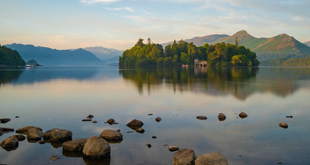 Обои для рабочего стола Англия Keswick, Cumbria Горы Природа Озеро Пейзаж Камень гора Камни