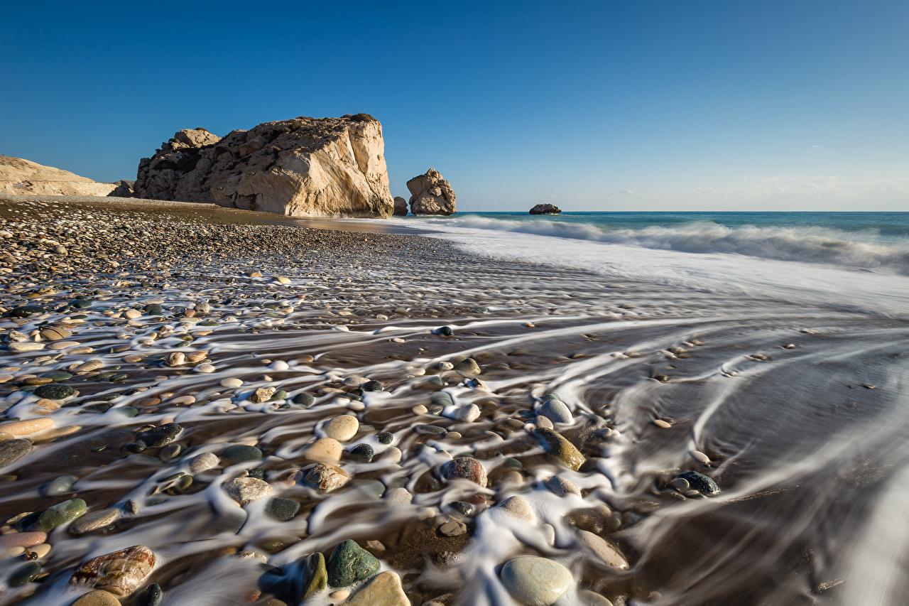 Картинка Республика Кипр Paphos District Природа Камни Побережье берег Камень