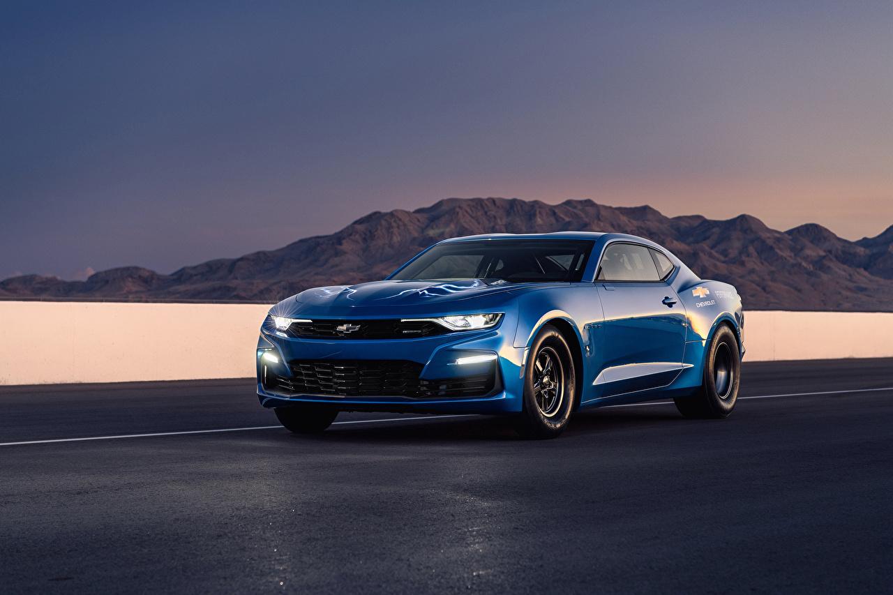 Обои Шевроле 2018 eCOPO Camaro Concept Синий Металлик Автомобили Chevrolet синих синие синяя Авто Машины