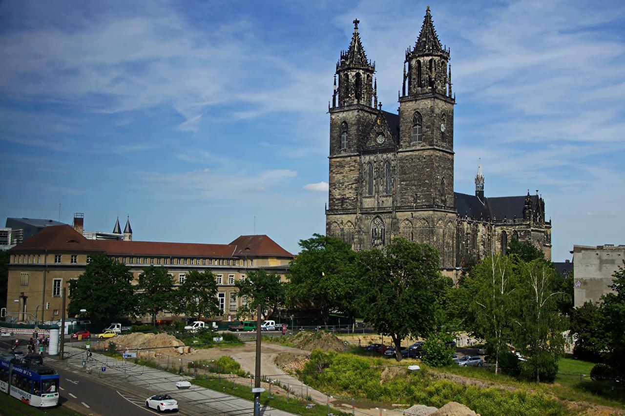 Фотография Собор Германия Cathedral of Magdeburg храм город Здания Храмы Дома Города