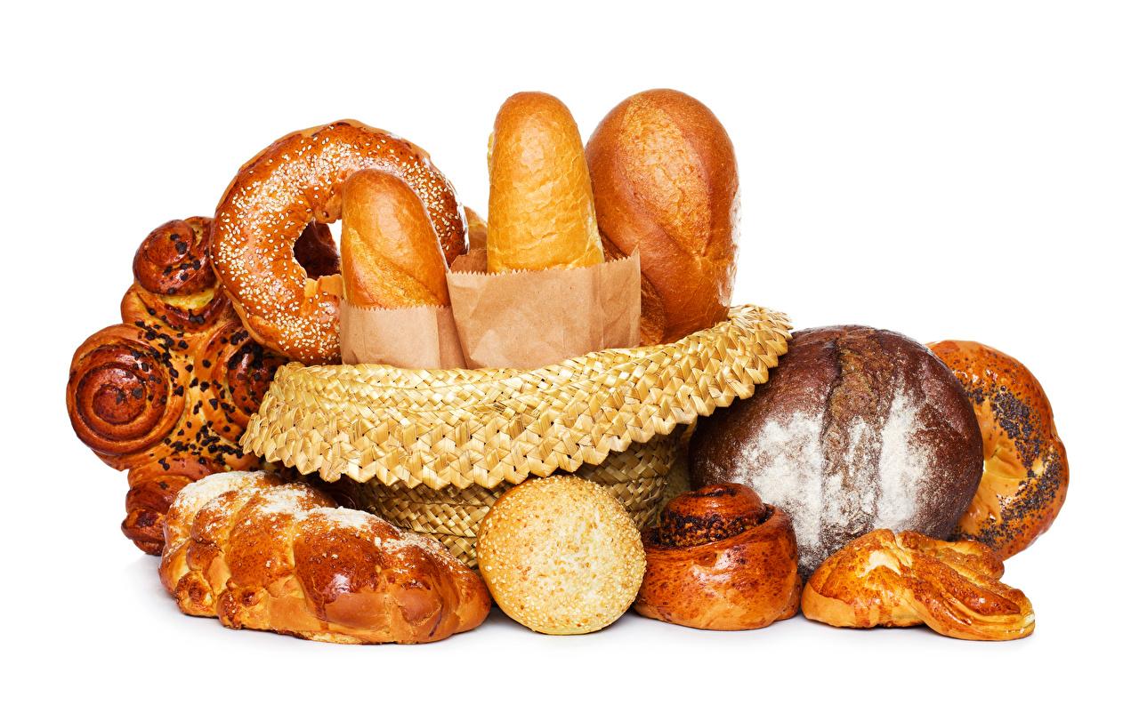 Картинки Хлеб Булочки Еда Выпечка Белый фон Пища Продукты питания белом фоне белым фоном