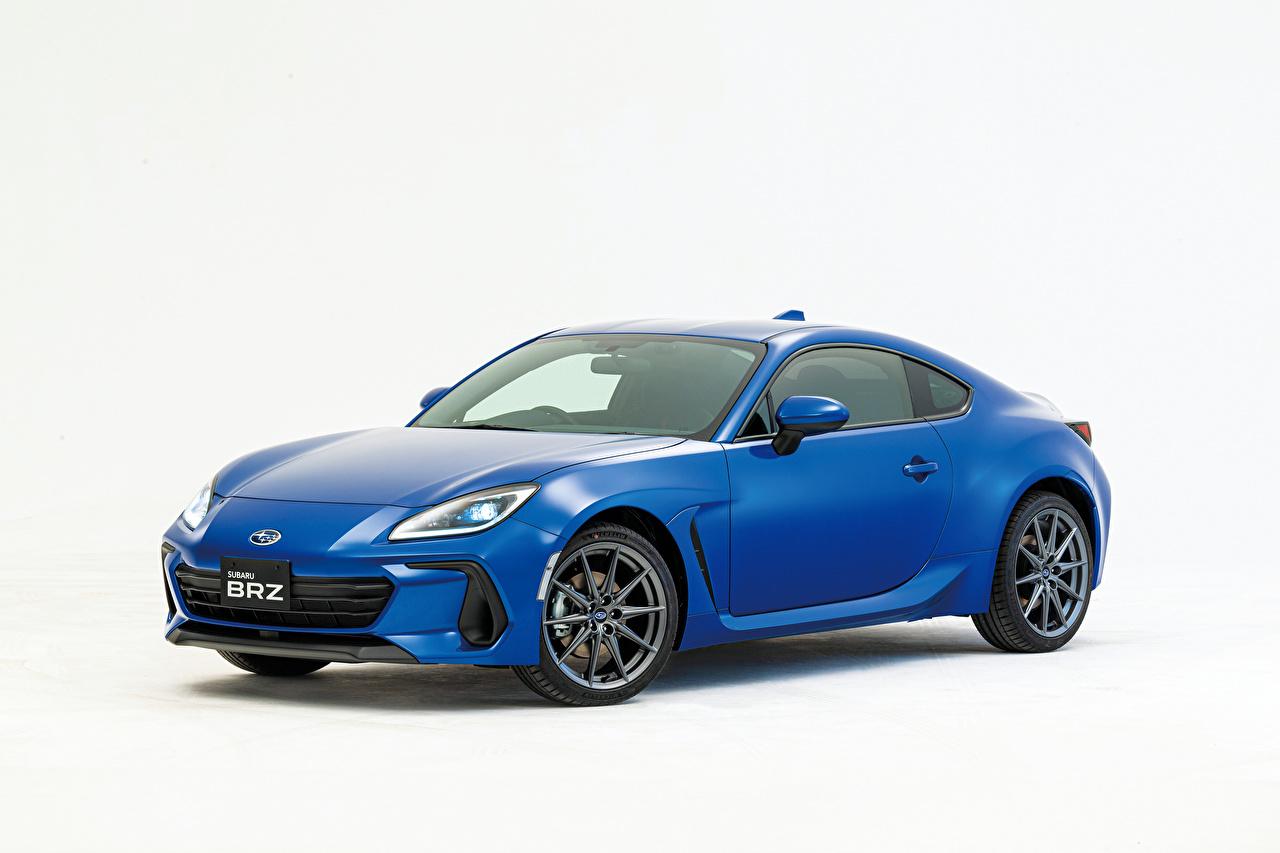 Обои для рабочего стола Subaru BRZ, JP-spec, 2021 синяя машина Металлик Белый фон Субару Синий синие синих авто машины Автомобили автомобиль белом фоне белым фоном