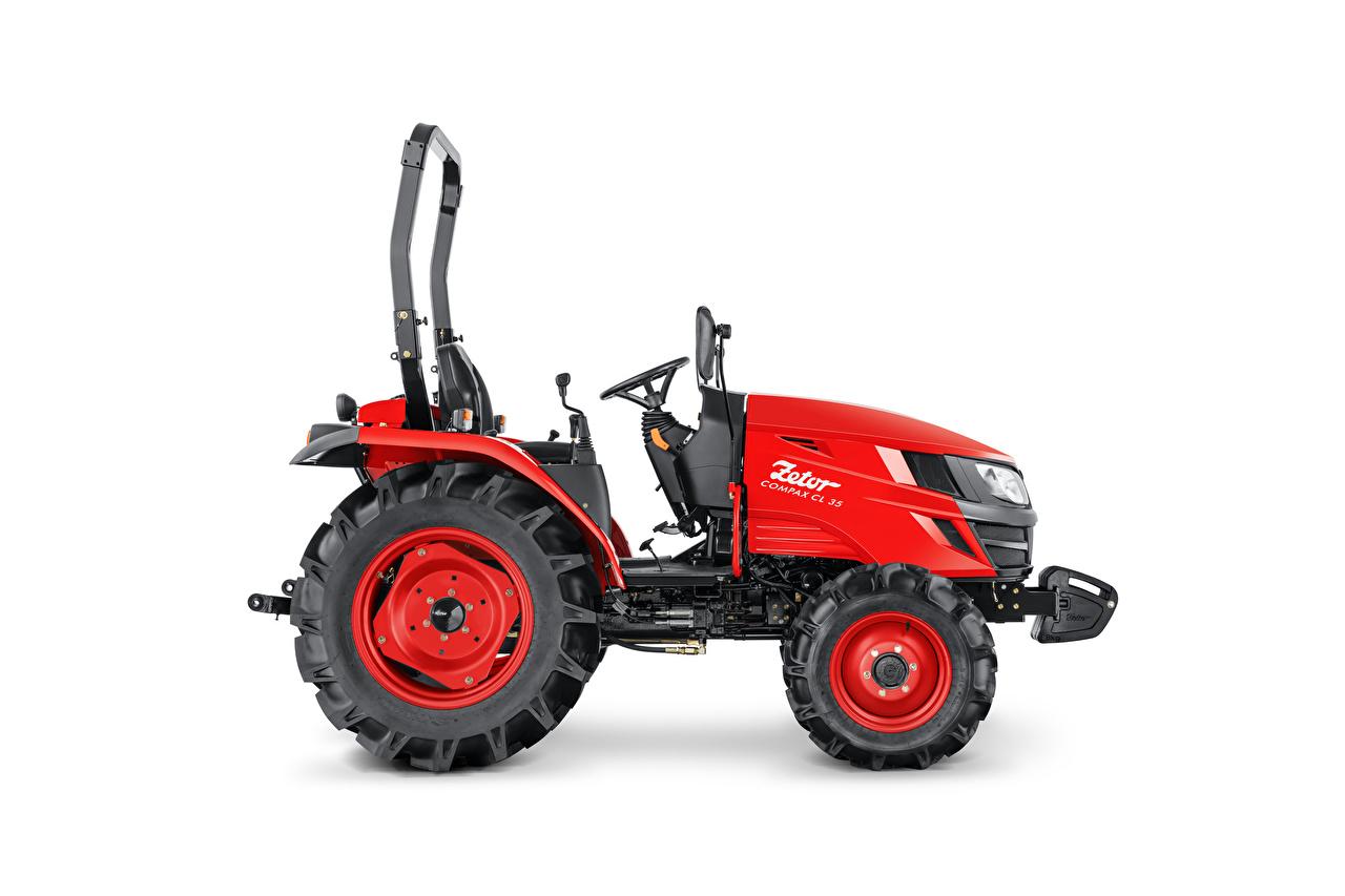 Фотография тракторы Zetor Compax CL 35, 2020 Красный Сбоку белом фоне Трактор трактора красных красные красная Белый фон белым фоном