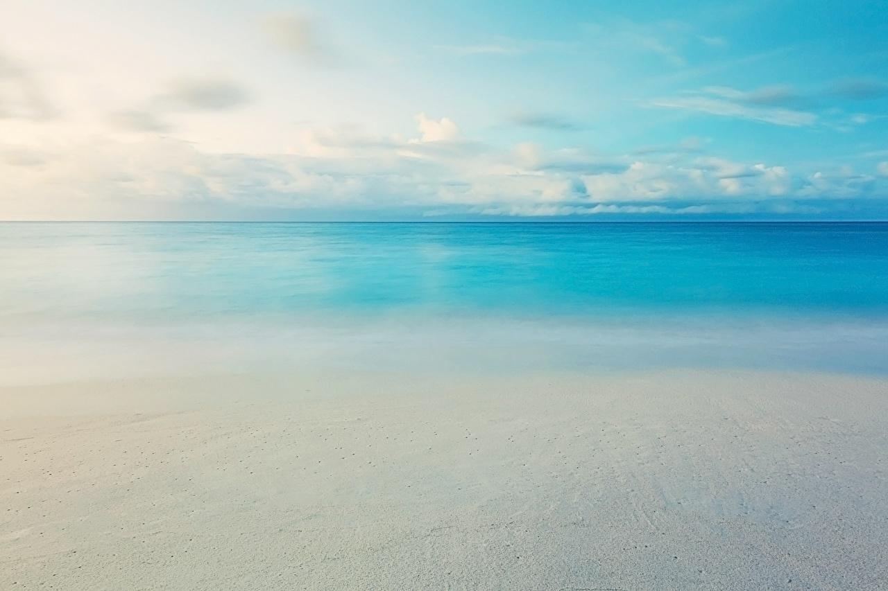 Картинка пляжи Море Природа Небо Горизонт Облака Пляж пляжа пляже горизонта облако облачно