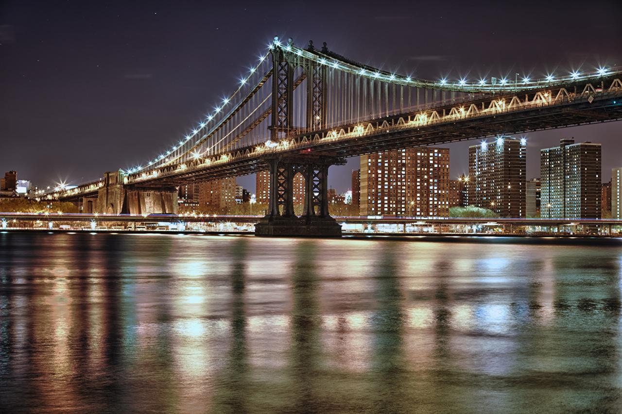 Фотографии Нью-Йорк Манхэттен США Manhattan Мосты Ночь Уличные фонари Города штаты америка мост ночью в ночи Ночные город