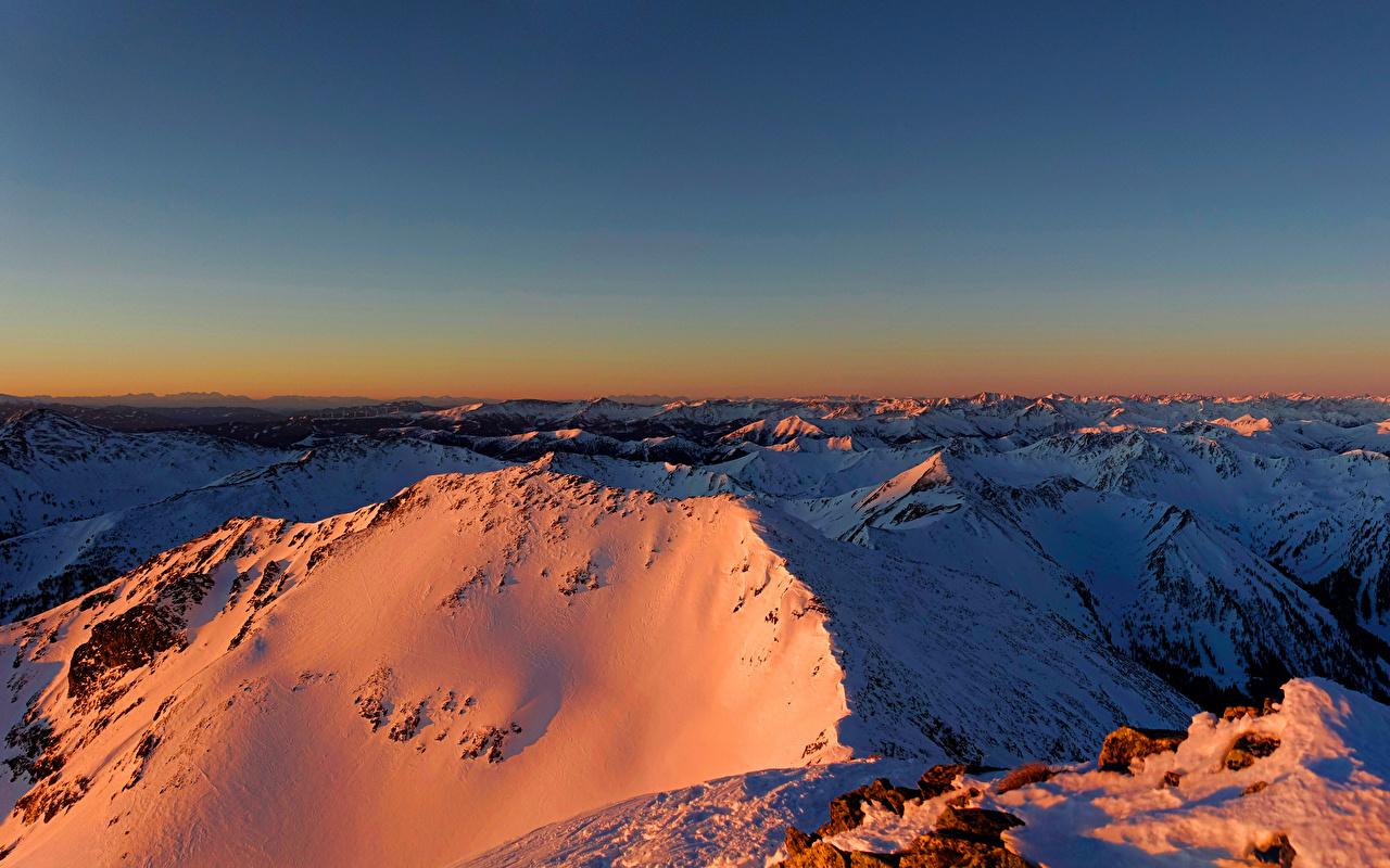 Картинки Альпы Австрия Styria Горы зимние Природа Снег Зима