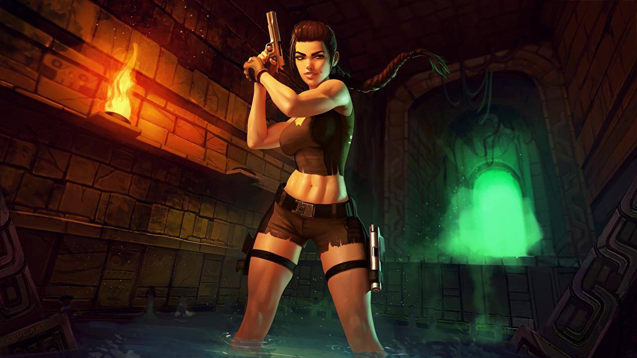 Картинка Пистолеты Лара Крофт Девушки Ноги пламя компьютерная игра шортах пистолет пистолетом девушка молодые женщины молодая женщина ног Игры Огонь шорт Шорты