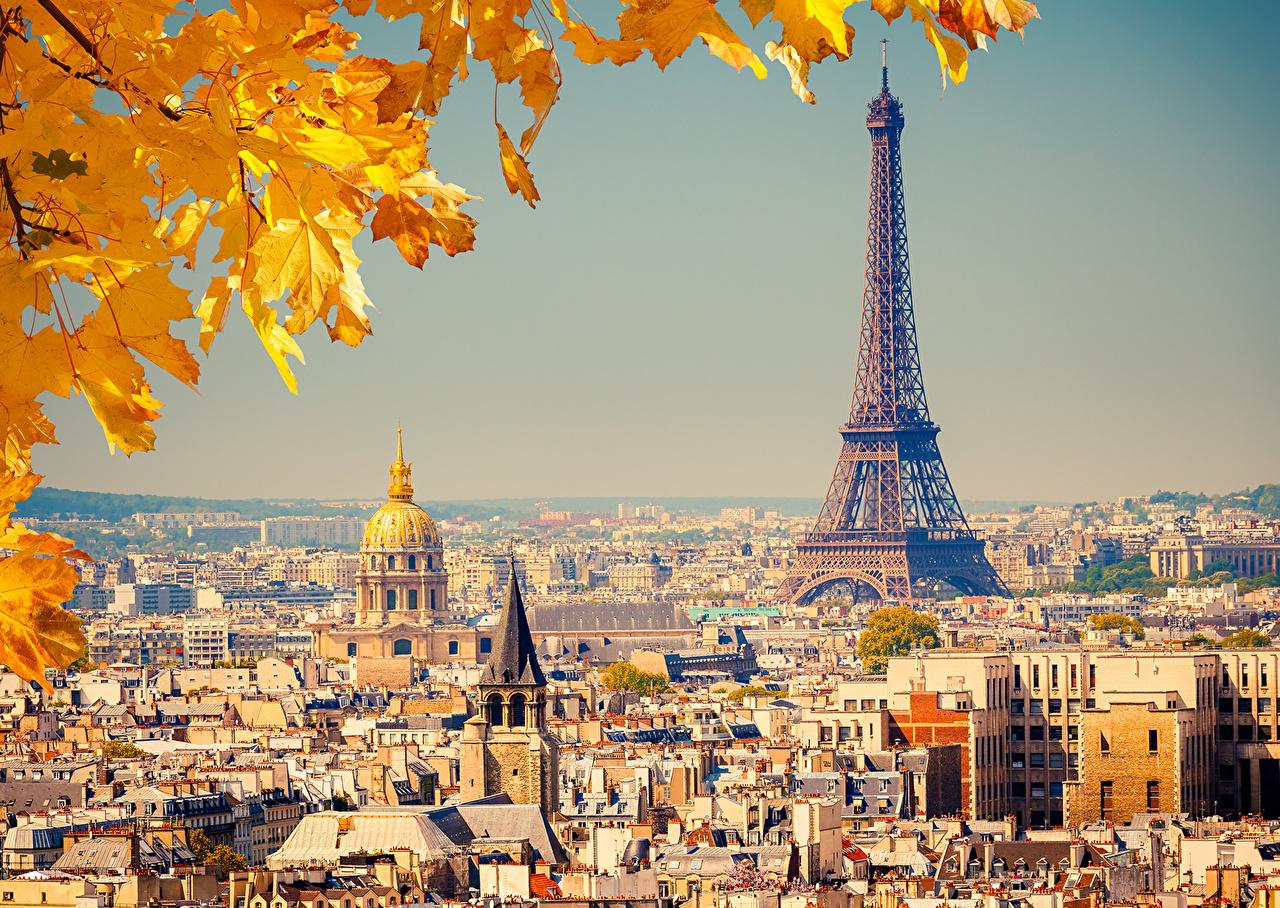 Картинка париже Эйфелева башня Листва Франция осенние Города Здания Париж лист Листья Осень Дома город