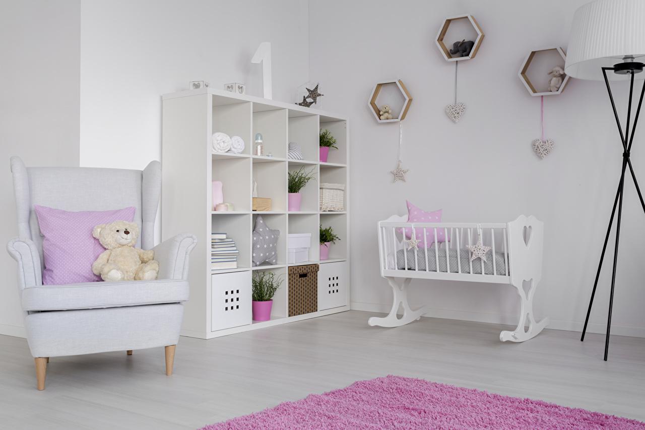 Картинка Детская комната Мишки Интерьер Кресло Кровать дизайна Плюшевый мишка кровате кровати Дизайн