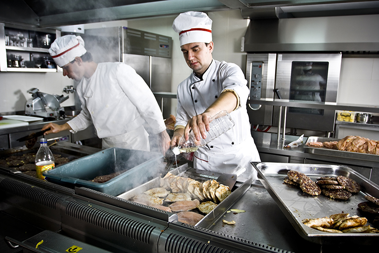Фото Кухня Мужчины Двое Повар Униформа 2