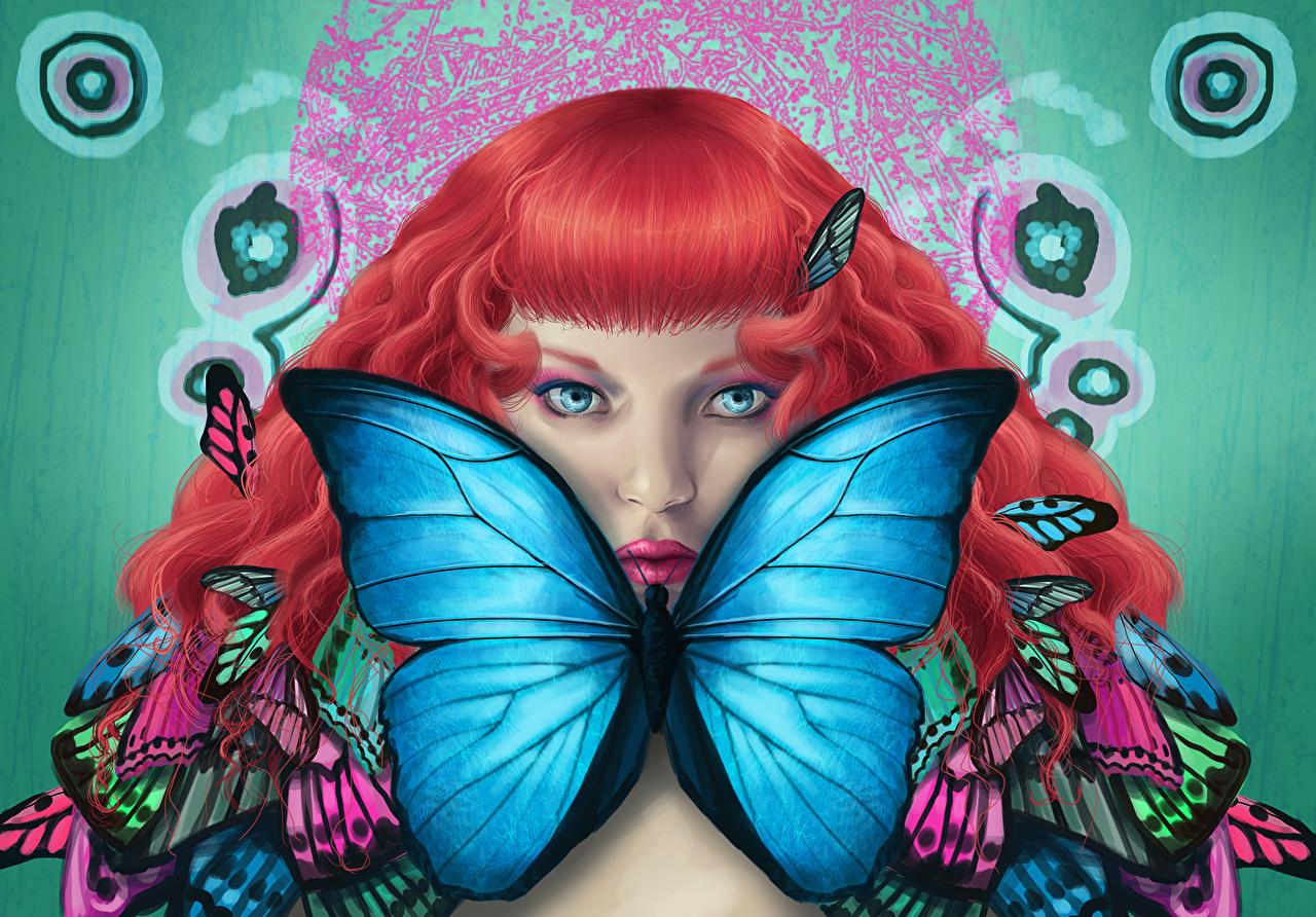 Картинка бабочка Рыжая Девушки Фантастика Взгляд Рисованные Бабочки рыжие рыжих девушка Фэнтези молодая женщина молодые женщины смотрит смотрят