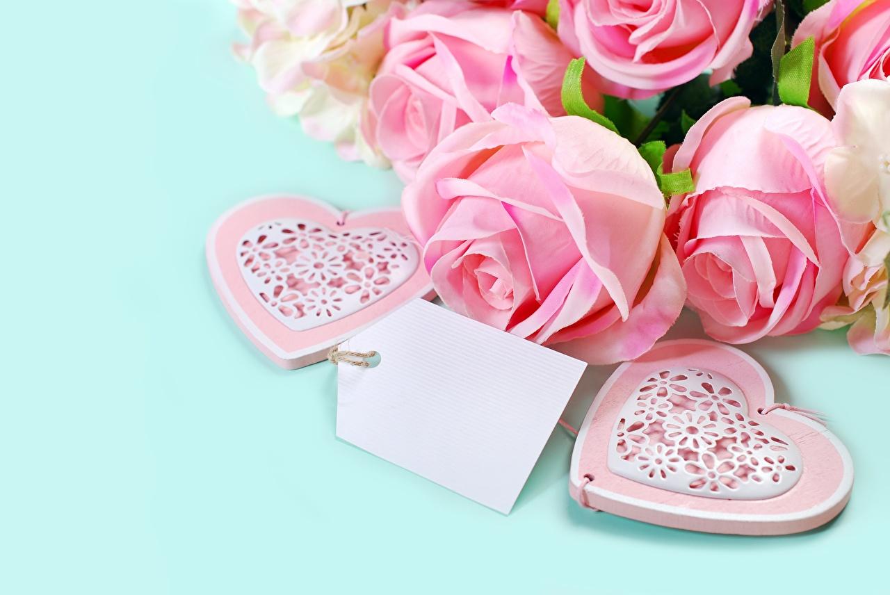 Фото серце Розы розовых цветок Шаблон поздравительной открытки Сердце сердца сердечко роза розовая розовые Розовый Цветы