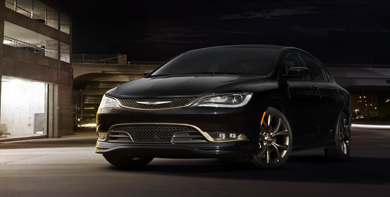 Фотографии Chrysler 2016 200S Alloy Edition черная Автомобили Крайслер черных черные Черный авто машина машины автомобиль