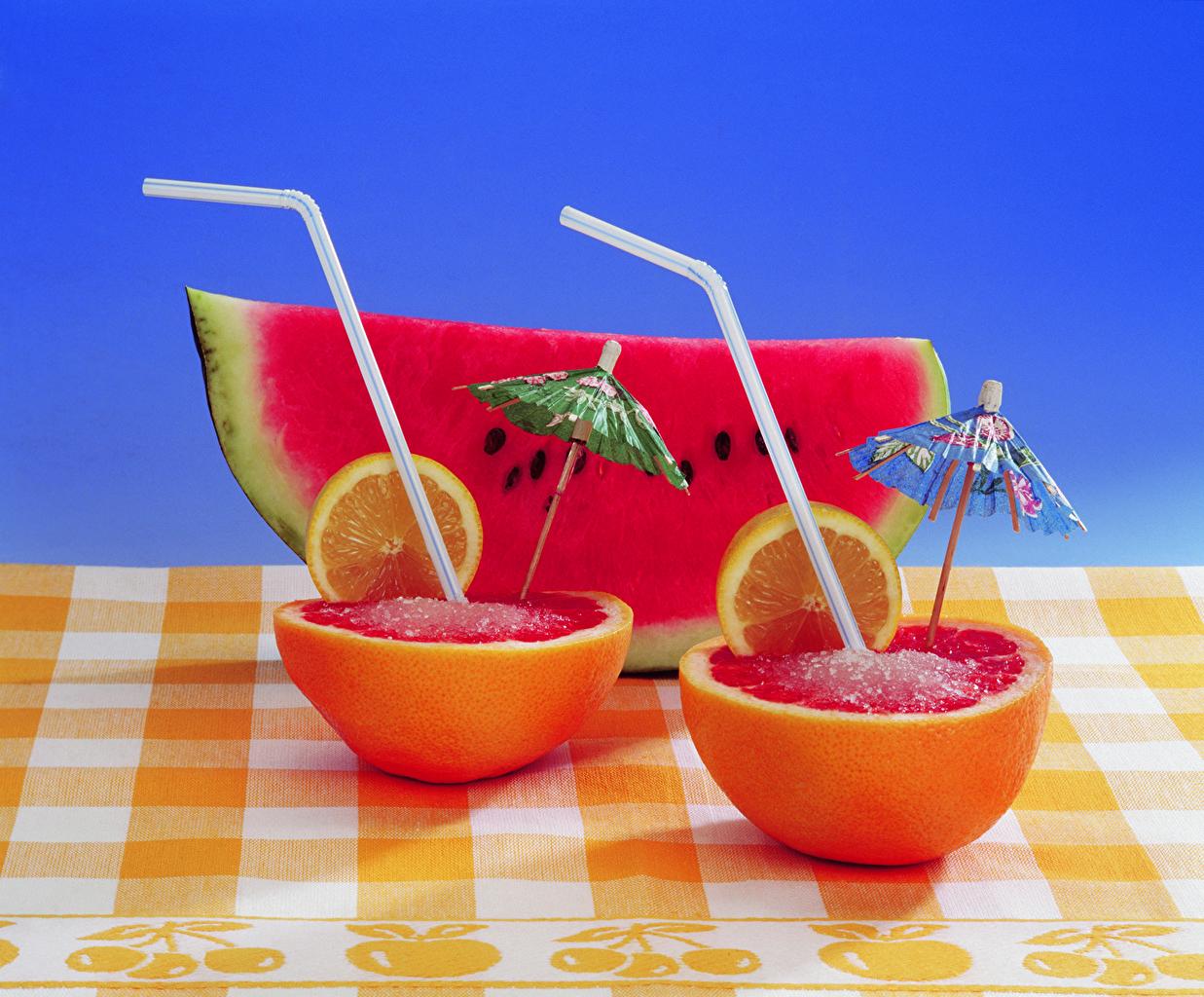 Картинки Апельсин Лимоны Арбузы Еда зонтом Фрукты Зонт Пища зонтик Продукты питания