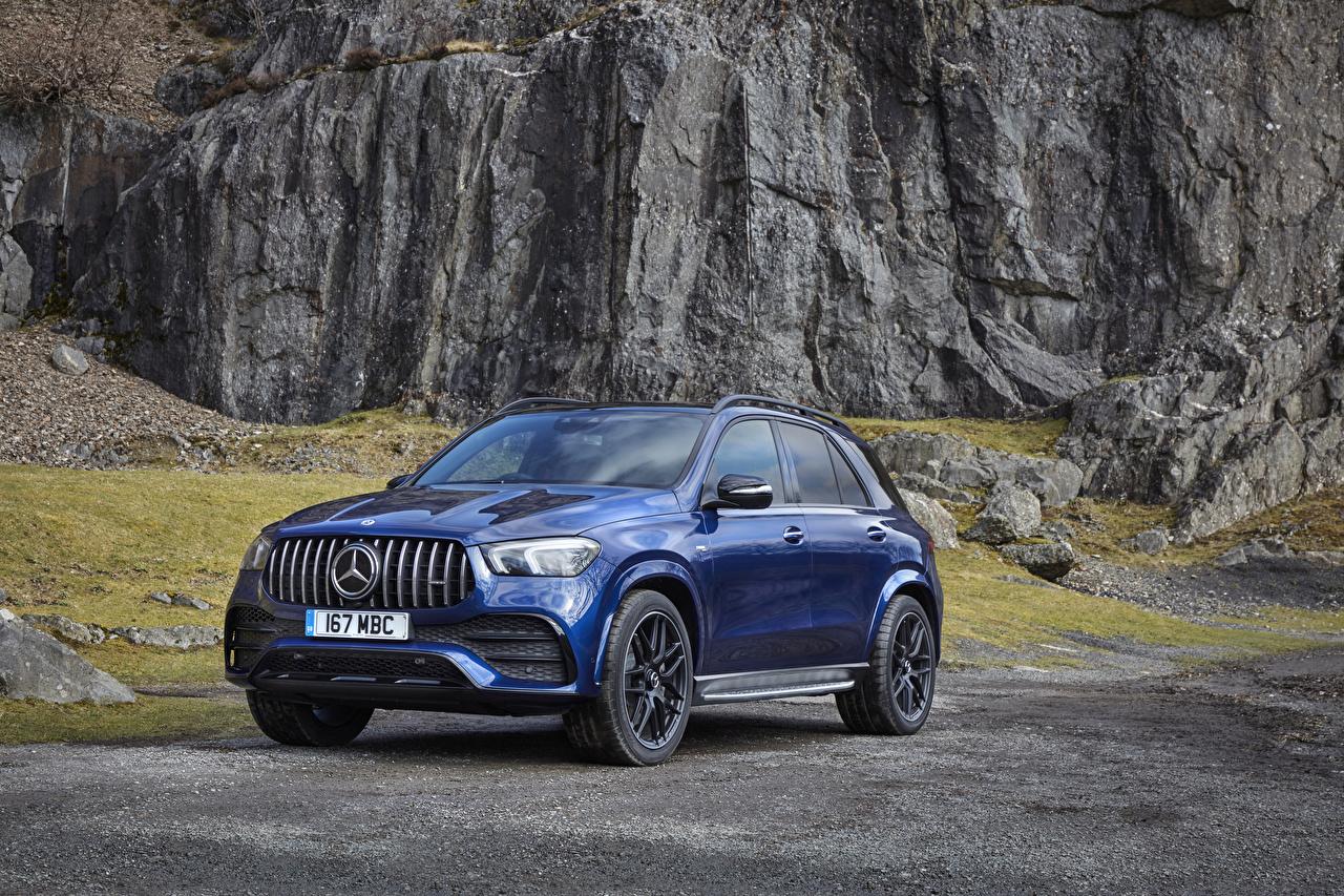 Картинки Мерседес бенц 2020 AMG GLE 53 4MATIC Синий авто Металлик Mercedes-Benz синяя синие синих машина машины Автомобили автомобиль