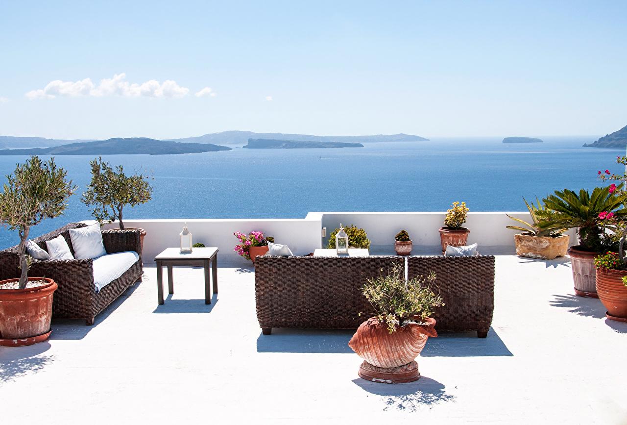 Картинки Санторини Греция Море Природа диване Тира Фира Диван