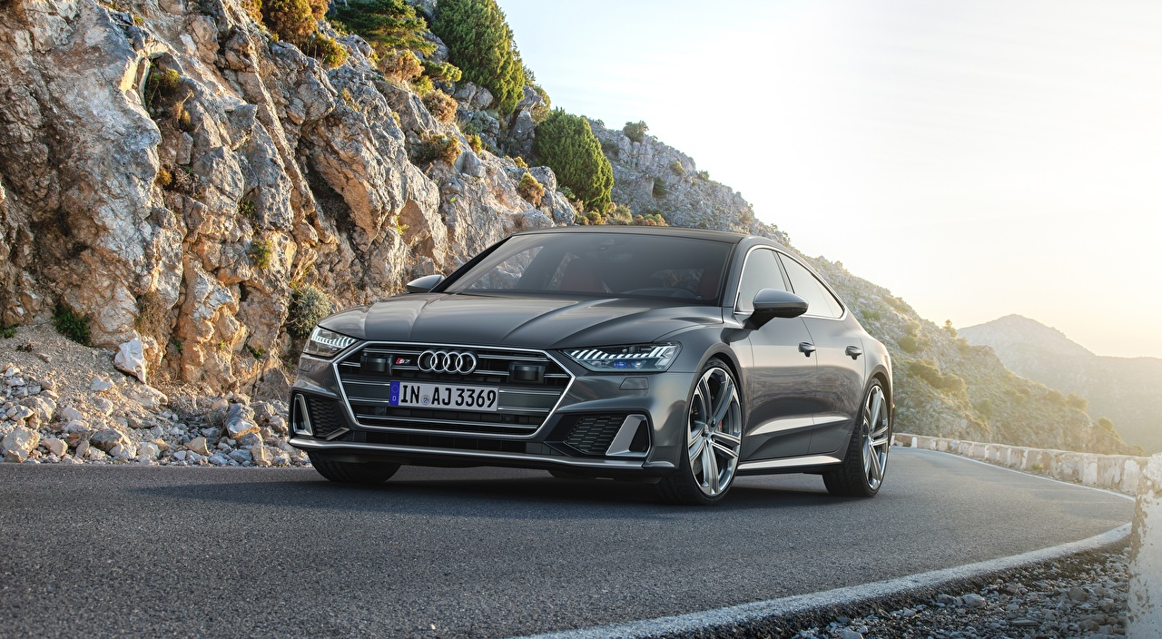 Фотографии Audi S7, Sportback, TDI, 2019 серые Спереди Асфальт автомобиль Ауди серая Серый авто машины машина асфальта Автомобили