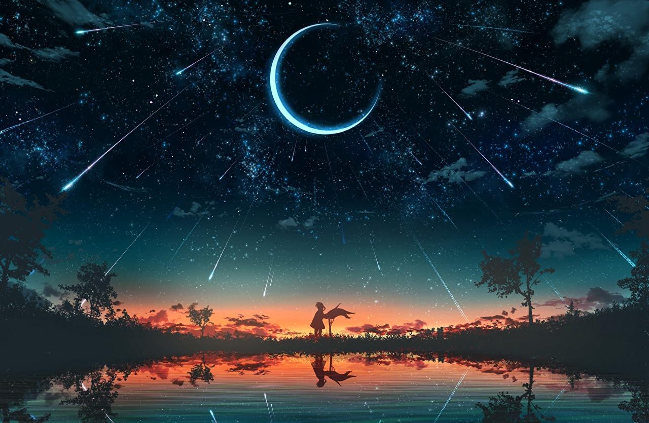 Обои для рабочего стола Звезды Силуэт Фантастика Небо Озеро Рассветы и закаты лунный серп силуэта силуэты Фэнтези рассвет и закат Полумесяц