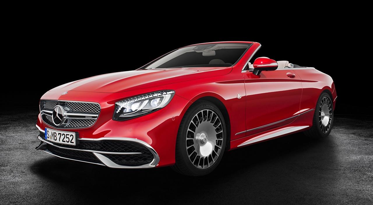 Обои для рабочего стола Майбах Mercedes-Benz S 650, Cabriolet, 2017 Кабриолет красная машина Maybach Мерседес бенц кабриолета Красный красные красных авто машины Автомобили автомобиль