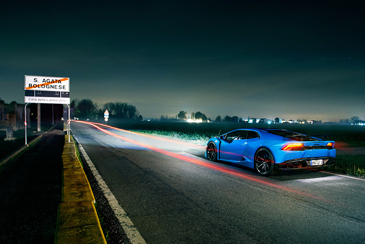 Обои для рабочего стола Ламборгини Novitec Torado Huracan Дороги в ночи Автомобили Lamborghini Ночь авто ночью машина машины Ночные автомобиль