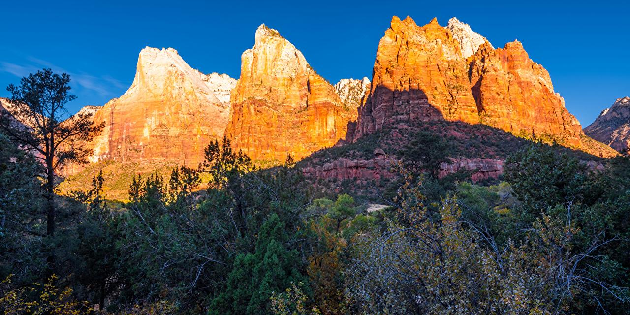 Картинка Зайон национальнай парк америка Utah Горы Утес Осень Природа парк США штаты гора Скала скале скалы осенние Парки