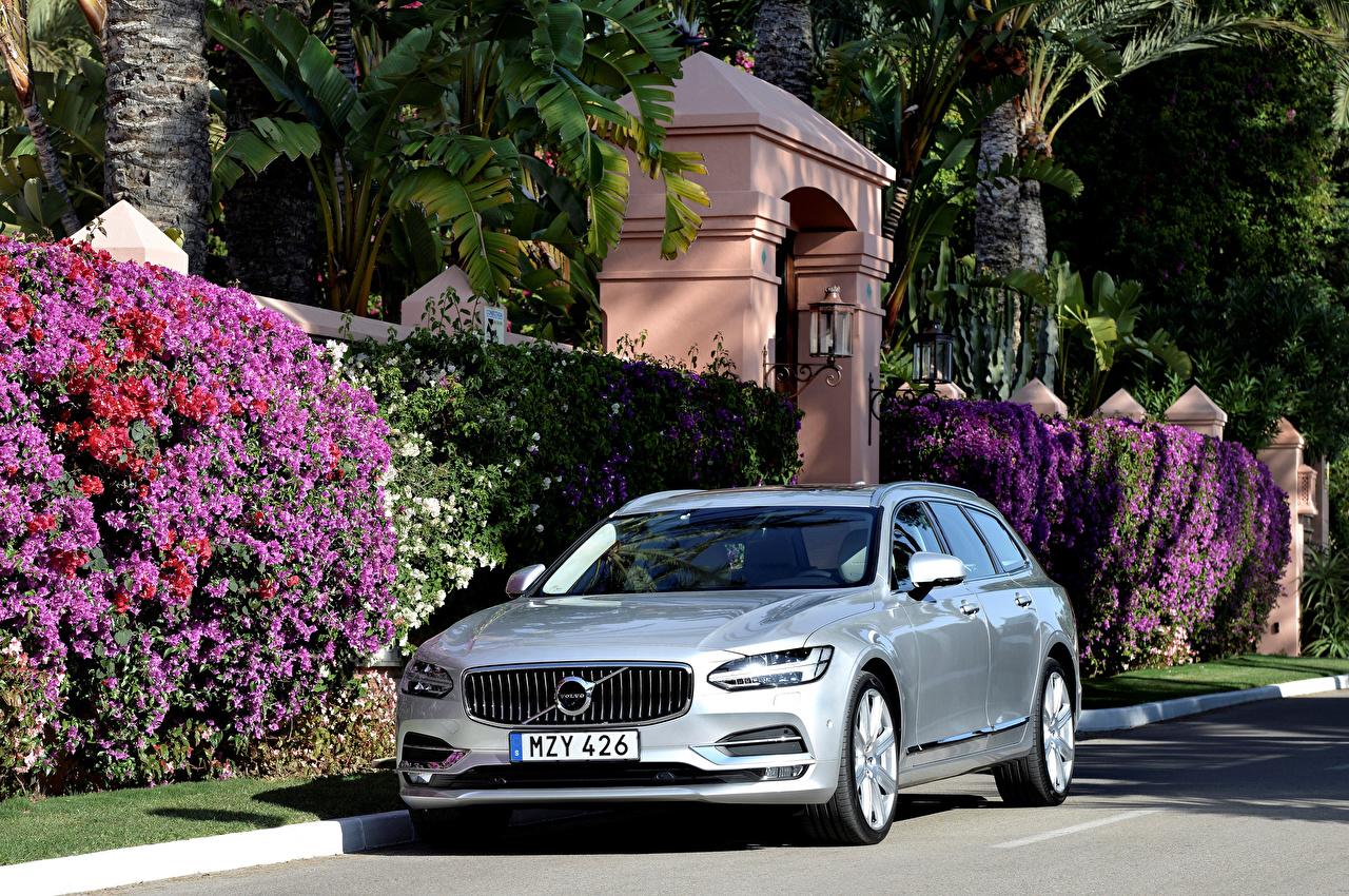 Фотографии Вольво 2016 V90 D5 Inscription Серый машина Металлик Volvo серые серая авто машины автомобиль Автомобили