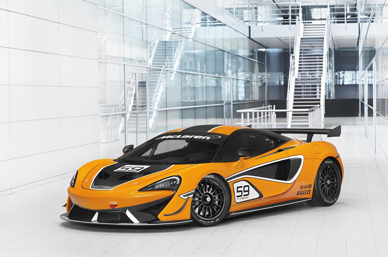 Фотография Макларен Стайлинг 2016-20 570S GT4 желтая Автомобили McLaren Тюнинг Желтый желтые желтых авто машины машина автомобиль